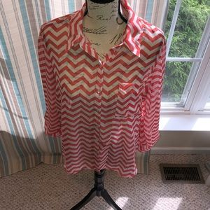 No Boundaries Coral & White Blouse